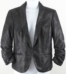INC International Concepts Black Caviar Ruched Sleeve One Hook Closure Lined B08 Jacket