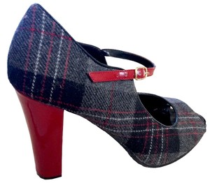 Steven by Steve Madden Patent Leather Gray and Red Plaid Pumps
