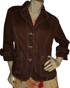 Coldwater Creek Cotton Princess Cut Brown Jacket