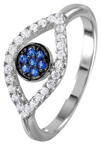 9.2.5 Stunning 925 white and blue sapphire Evil eye Ring size 7.