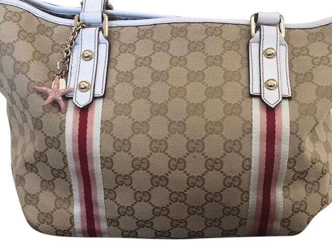 Item - Jolicoeur Gg Stripe Tote. Brown and White and Pink Canvas Shoulder Bag