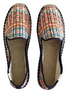 Soludos Multi Color White Gold Metallic Plaid Flats