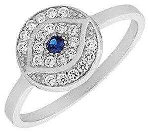 9.2.5 Gorgeous white and blue sapphire evil eye ring size 6