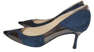 Jimmy Choo Snakeskin Leather Pointy Toe Blue and Black Pumps