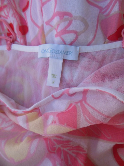 On Gossamer Sheer Lined Sleeveless Pink Top White Pink