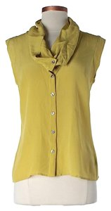 Anthropologie Silk Button Cowl Neck Top Chartreuse