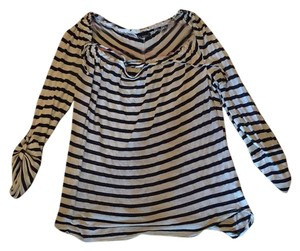 Ella Moss Striped Tie Comfortable Top navy and cream