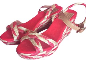 Tory Burch Red and gold straw Wedges