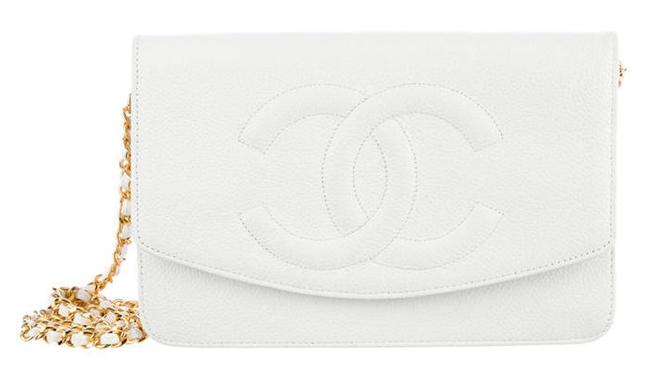 Item - Classic Flap Wallet On A Chain Woc Timeless Caviar Quilted Cc Mini White Cream Lambskin Leather Cross Body Bag