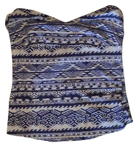 Sparkle & Fade Strapless Aztec Top blue and white