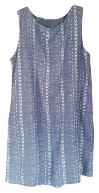 J.Crew short dress sky blue linen with white tribal print on Tradesy