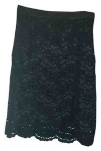 Ann Taylor LOFT Lace Fitted Pencil Skirt Black