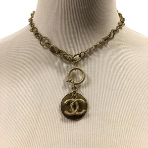 Chanel CHANEL Goldtone No. 5 and CC Pendant Necklace