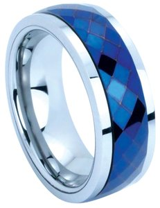Portofino Stunning Tungsten Ring With Blue Prism Spinner In Center Of Band 8mm Sizes 9-13 Made To Order Free Ship
