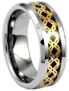 Portofino Tungsten Ring IP Gold Crisscross Pattern Over Black Carbon Fiber Sizes 8mm 8-13 Made To Order Free Ship