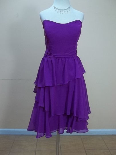 Alfred Angelo Violet Chiffon 7321s Formal Bridesmaid/Mob Dress Size 10 (M)