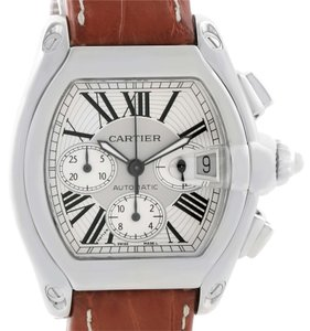 Cartier Cartier Roadster Chronograph Silver Dial Brown Strap Watch W62019X6