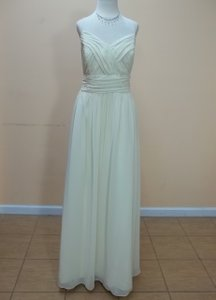 Alfred Angelo Butter Cream Chiffon 7323l Formal Bridesmaid/Mob Dress Size 14 (L)