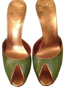 Gucci Green Alligator with Gold Heel Mules