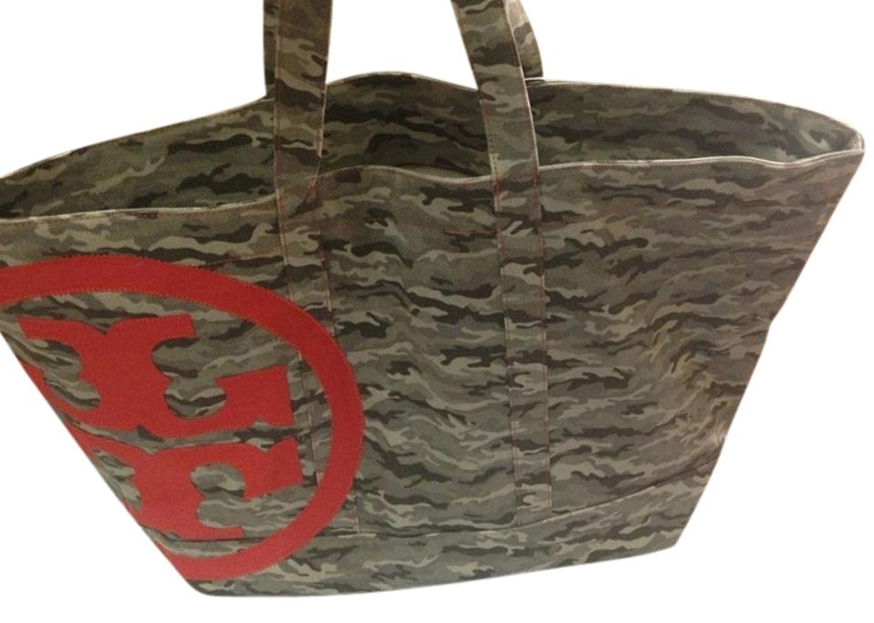 930efb446f Tory Burch Large Beach Tote Duffle Camo Jasper Canvas Weekend Travel ...