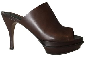 Marni Brown Leather Platform Heel Clog Mules