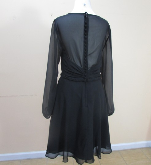 Alfred Angelo Black Chiffon 7327s Formal Bridesmaid/Mob Dress Size 12 (L)