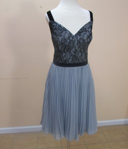 Alfred Angelo Black/Smoke Lace 7328s Formal Bridesmaid/Mob Dress Size 12 (L)