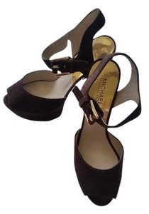 Michael Kors Sandal Peep Toe Coffee-Dark Brown Platforms