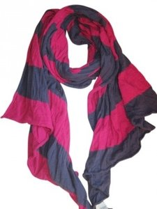 American Eagle Outfitters Navy and Fuschia Stripe Scarf