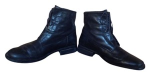 Bass Corset Lacing Leather Black Boots