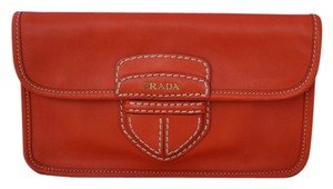 Prada Leather Front Flap Classic Logo Bright Orange Clutch