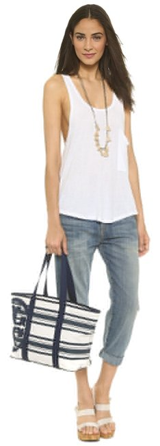 Item - Tote New Striped Zip Small Navy Blue Canvas Beach Bag
