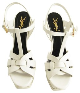 Saint Laurent Ysl Platform Strappy Leather White Platforms