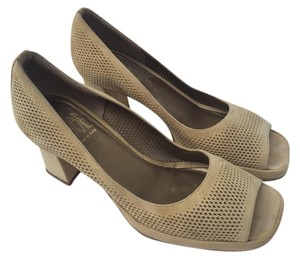 Joan & David Suede Natural Taupe Nude Pumps