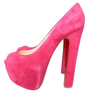 Christian Louboutin Suede Suede Leather Platform Hidden Platform Pink Pumps