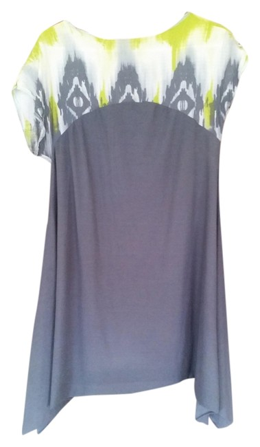Unknown short dress grey with lime green/white tribal print on Tradesy