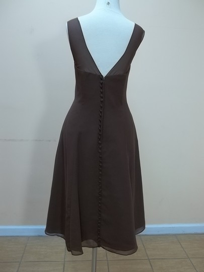 Alfred Angelo Chocolate Chiffon 7340s Formal Bridesmaid/Mob Dress Size 10 (M)