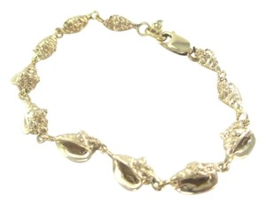 14KT SOLID YELLOW GOLD BRACELET BANGLE 11 SHELL CONCH 17.1 GRAMS NO SCRAP JEWEL