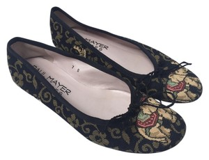 Paul Mayer Multicolored Patterned Black Flats