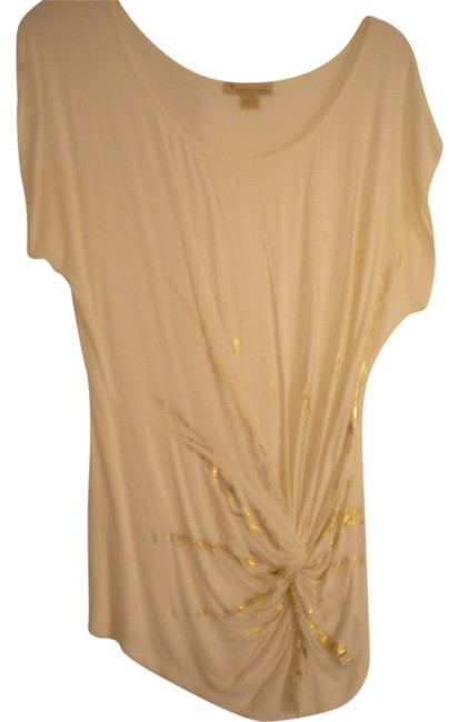 Forever 21 T Shirt Cream and Gold