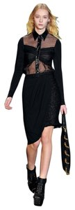 Christian Siriano Pencil Wrap Textured Skirt Black