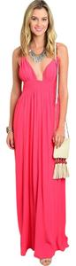 Coral Maxi Dress by Honey Punch Tassels Plunge
