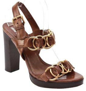 Miu Miu Brown, Gold Sandals