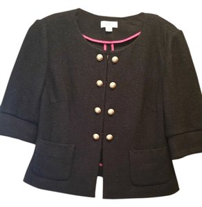Ann Taylor LOFT Casual Fitted Gold Hardware Black Blazer