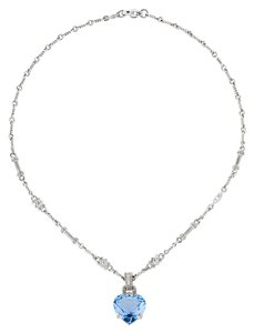 Judith Ripka Judith Ripka Heart Blue Quartz 18k White Gold Diamond Necklace.