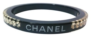 Chanel Authentic Chanel Black Lucite Rhinestone Bangle Cuff