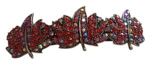 Other Beautiful barrette ruby red stones and rhinestones on silver tone three leaf design