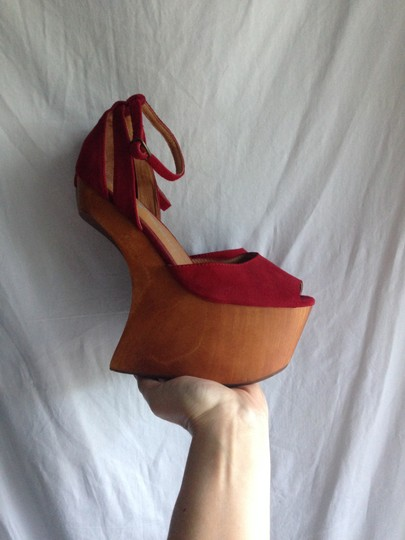 Jeffrey Campbell Str8up Str8up Wedge Heels High Heels Hoof Wooden Karmaloop Suede Heels Designer Boho Chic Modern Architectural 8.5 red Platforms