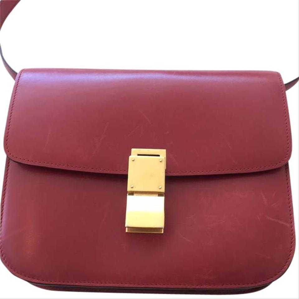 400cbcefde Céline Classic Box Medium Red Dark Ref Leather Cross Body Bag - Tradesy