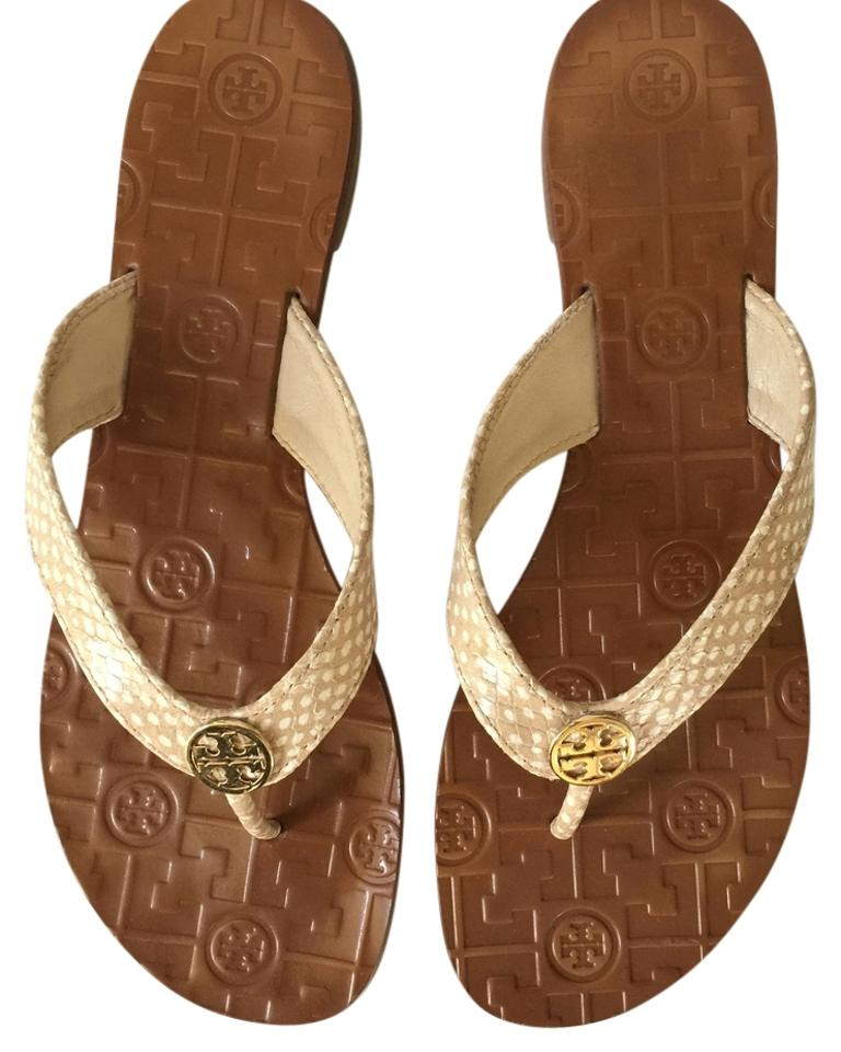 Tory Burch Tan/White Thora Spotted Thora Tan/White Thong Sandals 9e4614